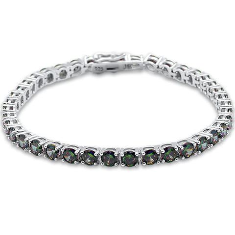 4.5MM Round 14.5CT Rainbow Topaz .925 Sterling Silver Bracelet