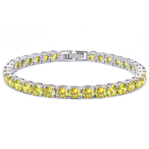 4.5MM Round 14.5CT Yellow Topaz .925 Sterling Silver Bracelet 7.25""