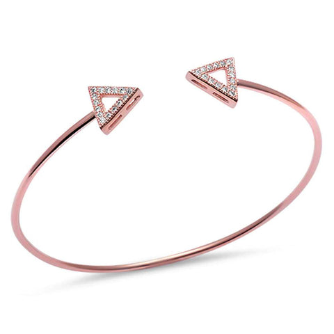 Rose Gold Plated Cz Triangle Arrow .925 Sterling Silver Adjustable Bracelet