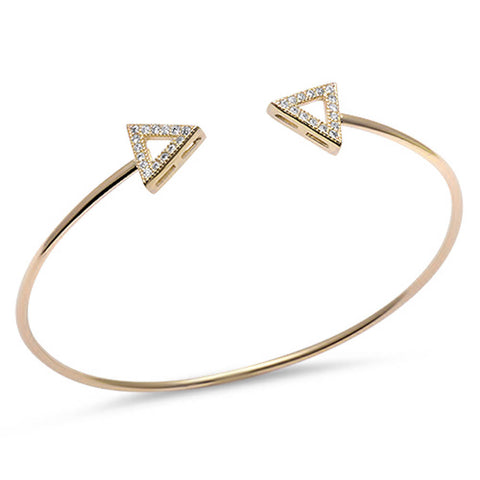 <span>CLOSEOUT!</span> Yellow Gold Plated Cz Triangle Arrow .925 Sterling Silver Adjustable Bracelet