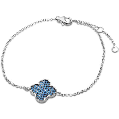 Open Four Leaf Nano Turquoise .925 Sterling Silver Bracelet