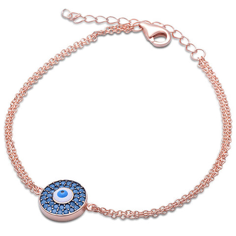 <span>CLOSEOUT!</span> Rose Gold Plated Turquoise Evil Eye .925 Sterling Silver Adjustable Bracelet