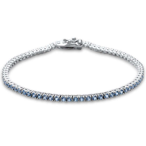 2.5MM ROUND 4 prong Tennis Aquamarine Cubic Zirconia  .925 Sterling Silver Bracelet 7.25""