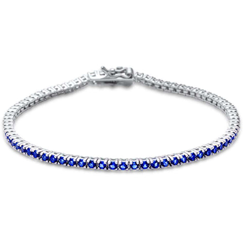 2.5MM ROUND 4 prong Tennis Blue Sapphire Cubic Zirconia  .925 Sterling Silver Bracelet 7.25""