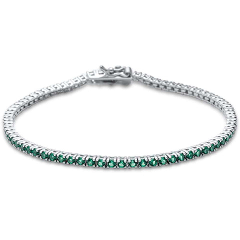 2.5MM ROUND 4 prong Tennis Emerald Cubic Zirconia  .925 Sterling Silver Bracelet 7.25""