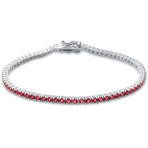 2.5MM ROUND 4 prong Tennis Garnet Cubic Zirconia  .925 Sterling Silver Bracelet 7.25""