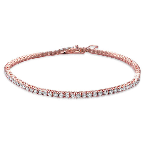 2.5MM ROUND 4 prong Tennis Rose Gold Plated Cubic Zirconia  .925 Sterling Silver Bracelet 7.25""