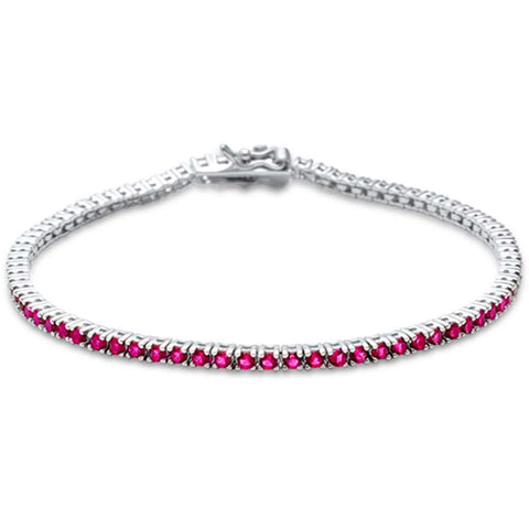 2.5MM ROUND 4 prong Tennis Ruby Cubic Zirconia  .925 Sterling Silver Bracelet 7.25""