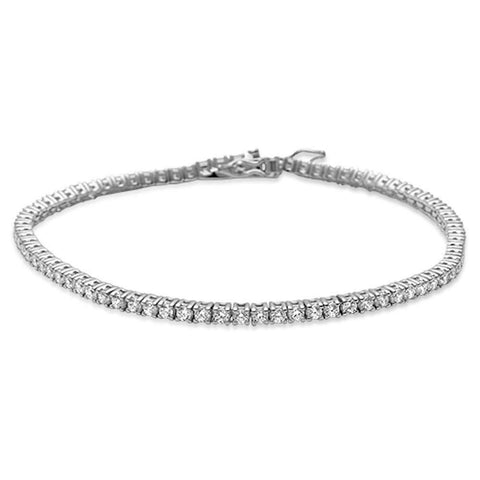 4 prong Tennis Cubic Zirconia  .925 Sterling Silver Bracelet