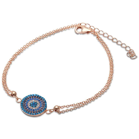 Rose Gold Plated Nano Turquoise, Cz, Sapphire .925 Sterling Silver Bracelet
