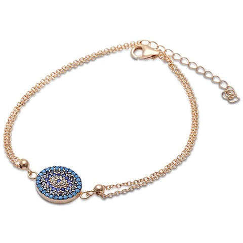 Yellow Gold Plated Nano Turquoise & CZ .925 Sterling Silver Adjustable Bracelet