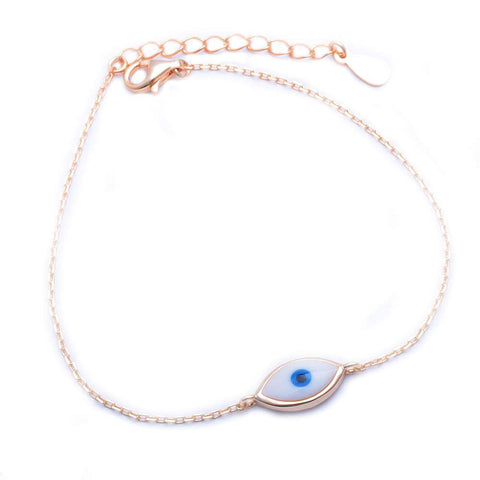 Rose Gold Plated Blue Evil Eye .925 Sterling Silver Bracelet