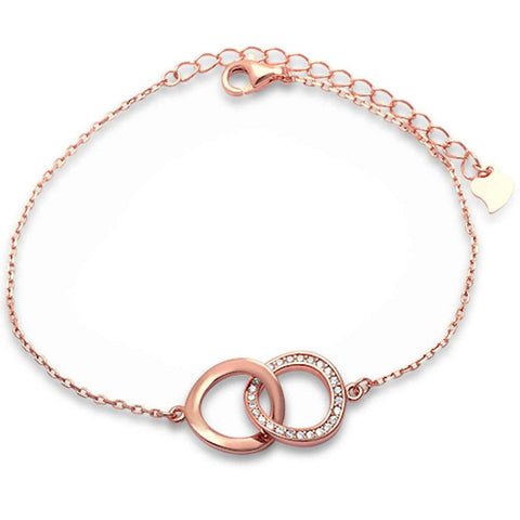 Rose Gold Plated Plain & Cubic Zirconia Wavy Circle  .925 Sterling Silver Bracelet