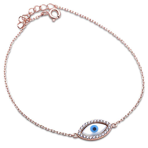 Rose Gold Plated Evil Eye .925 Sterling Silver Bracelet