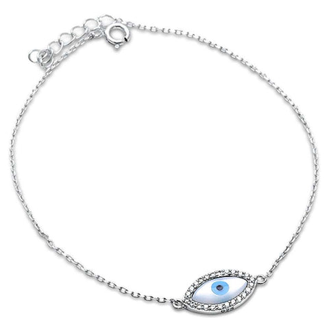 Blue Evil Eye .925 Sterling Silver Bracelet