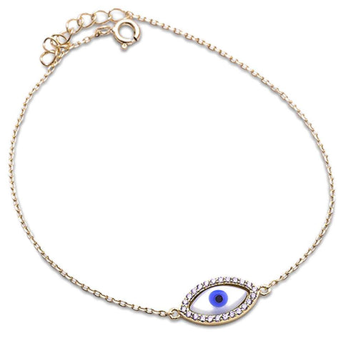 Yellow Gold Plated Evil Eye   .925 Sterling Silver Bracelet