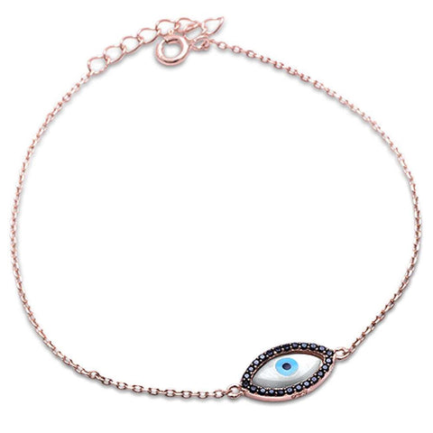 Rose Gold Plated Black Cz Evil Eye .925 Sterling Silver Bracelet