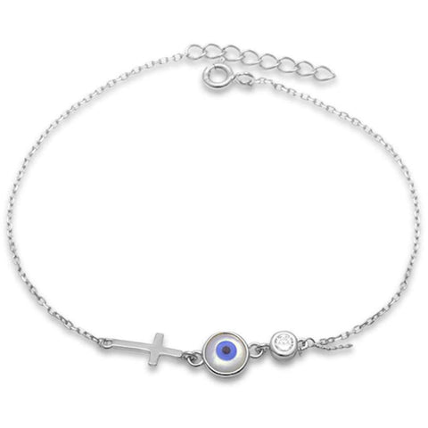 Evil Eye , Cross, & Cz Bezel .925 Sterling Silver Bracelet