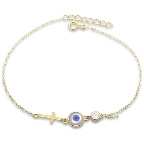 Yellow Gold Plated Evil Eye, Cross, & Cz Bezel .925 Sterling Silver Bracelet