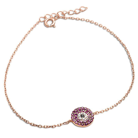 Rose Gold Plated Ruby, White & Black Cubic Zirconia .925 Sterling Silver Bracelet