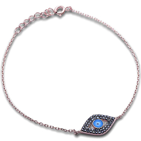 Rose Gold Plated Black Cz Blue Evil Eye .925 Sterling Silver Bracelet