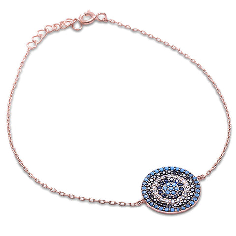 Rose Gold Plated Nano Turquoise, Black Cz, Sapphire & Cz .925 Sterling Silver Bracelet