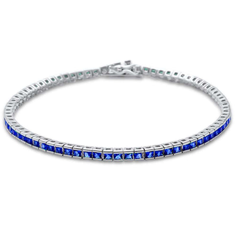 2.5MM Square Bezel Blue Sapphire .925 Sterling Silver Tennis Bracelet 7.5""
