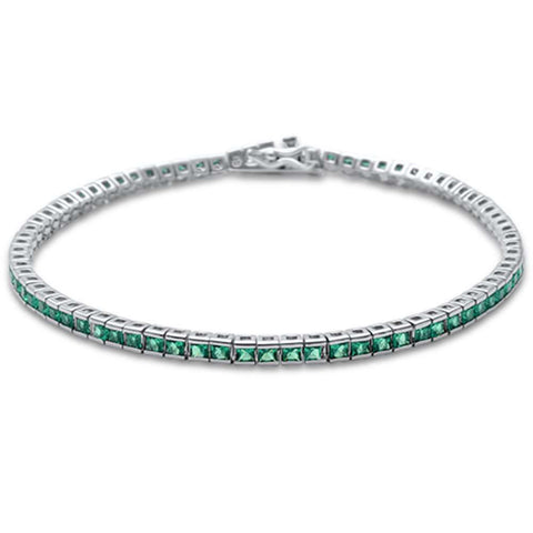 2.5MM Square Bezel Emerald .925 Sterling Silver Tennis Bracelet 7.5""