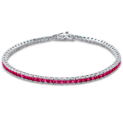 2.5MM Square Bezel Ruby .925 Sterling Silver Tennis Bracelet 7.5""