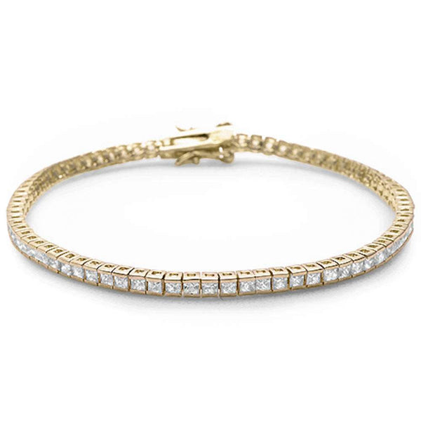 Yellow Gold Plated Bezel Set Cubic Zirconia .925 Sterling Silver Bracelet