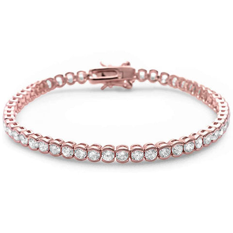 Rose Gold Plated Half Bezel Set Cubic Zirconia .925 Sterling Silver Bracelet