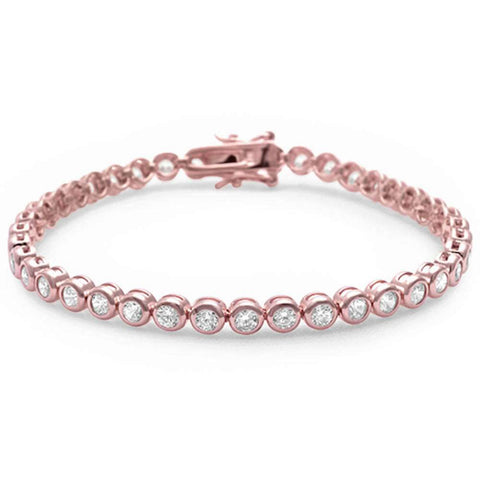 Rose Gold Plated Bezel Set Cubic Zirconia .925 Sterling Silver Bracelet