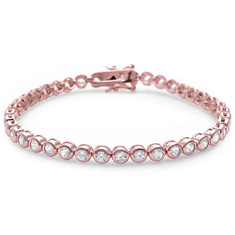 Rose Gold Plated Round Bezel Cubic Zirconia .925 Sterling Silver Bracelet
