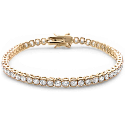 Yellow Gold Plated Round Bezel Cubic Zirconia .925 Sterling Silver Bracelet