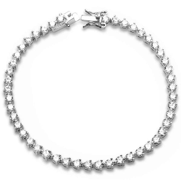 3 Prong Round Cubic Zirconia  .925 Sterling Silver Bracelet