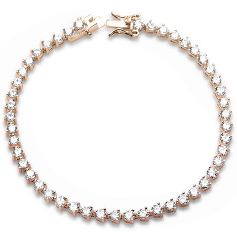 Rose Gold Plated 3 Prong Cubic Zirconia  .925 Sterling Silver Bracelet