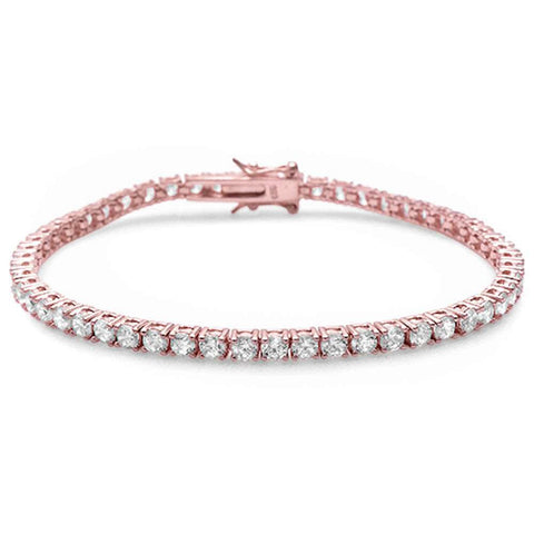 Rose Gold Plated 4 Prong Round Cubic Zirconia .925 Sterling Silver Bracelet