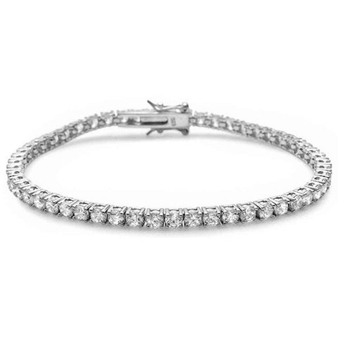 4 Prong Round Cubic Zirconia .925 Sterling Silver Bracelet