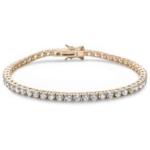 Yellow Gold Plated 4 Prong Round Cubic Zirconia .925 Sterling Silver Bracelet