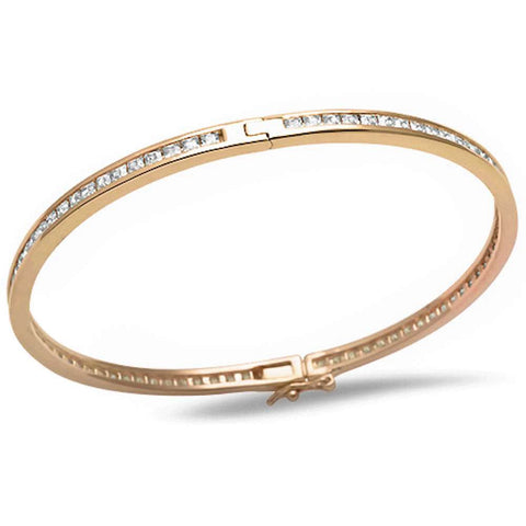 Yellow Gold Plated Princess Cut Fine Cubic Zirconia .925 Sterling Silver Bangle Bracelet