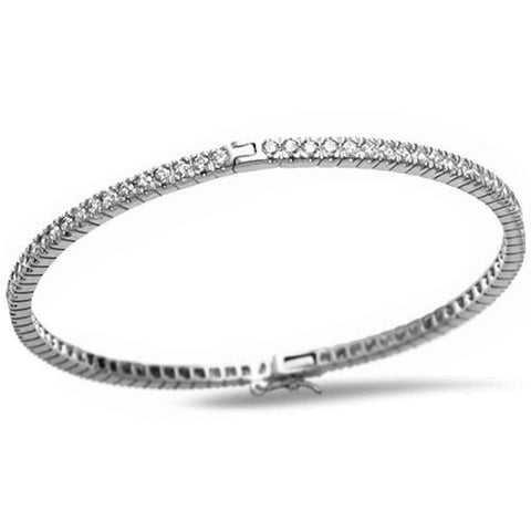 Round Cubic Zirconia .925 Sterling Silver Bangle Bracelet