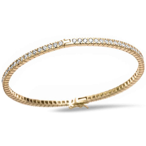 Yellow Gold Plated Round Cut Fine Cubic Zirconia .925 Sterling Silver Bangle Bracelet