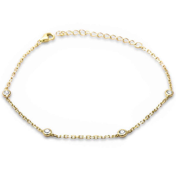 Yellow Gold Plated Bezel Set Cubic Zirconia .925 Sterling Silver Chain Bracelet
