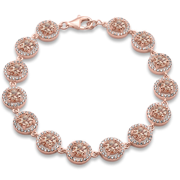 "Rose Gold Plated Halo Morganite & Cubic Zirconia .925 Sterling Silver Bracelet 7.5"" Long"