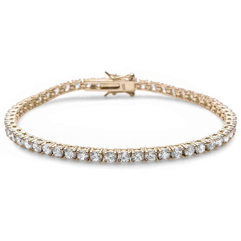 Yellow Gold Plated Round Cubic Zirconia .925 Sterling Silver Bracelet