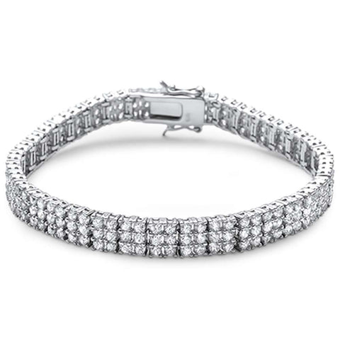 "Elegant 7"" Triple Layer Tennis .925 Sterling Silver Tennis Bracelet"
