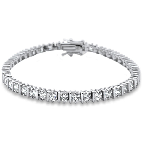 "Elegant Princess Cut Bar Set .925 Sterling Silver Tennis Bracelet 8"" Long"