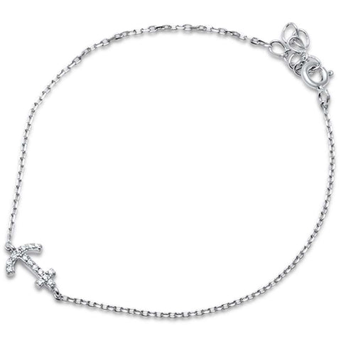 "Cubic Zirconia Anchor .925 Sterling Silver Bracelet 6""+1"" Extension"