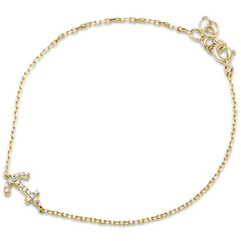 Yellow Gold Plated Cubic Zirconia Anchor .925 Sterling Silver Bracelet
