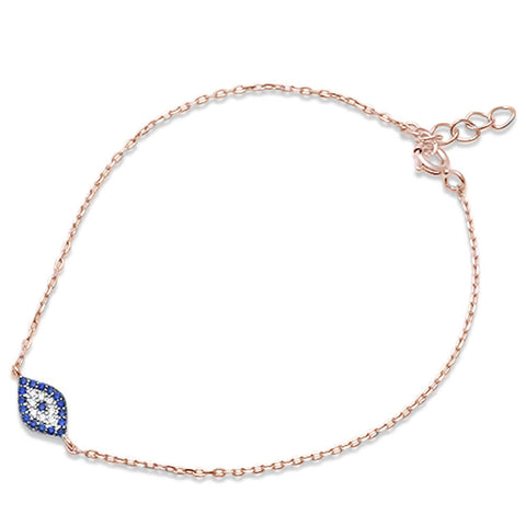 Trendy! Rose Gold Plated Blue Sapphire Evil Eye .925 Sterling Silver Bracelet